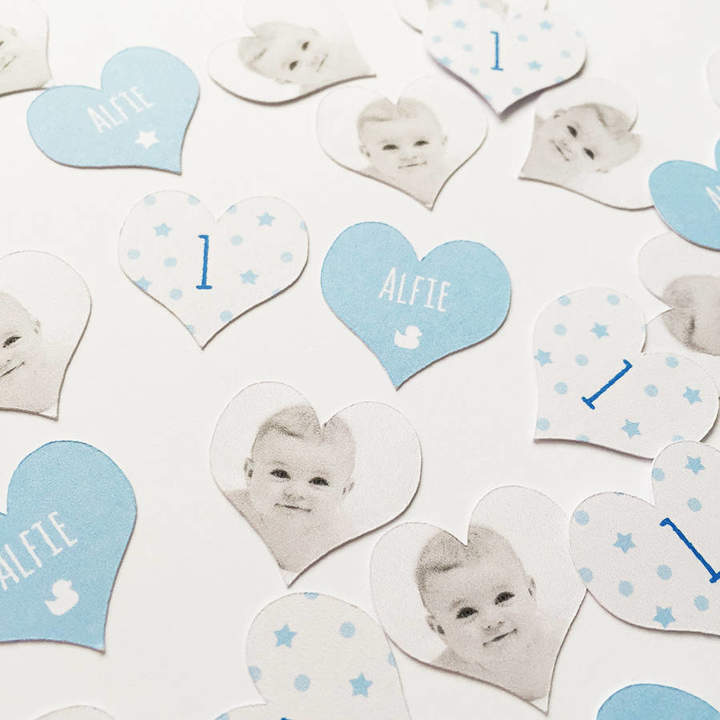PopBox Party Personalised Photo '1st Birthday' Boy's Table Confetti