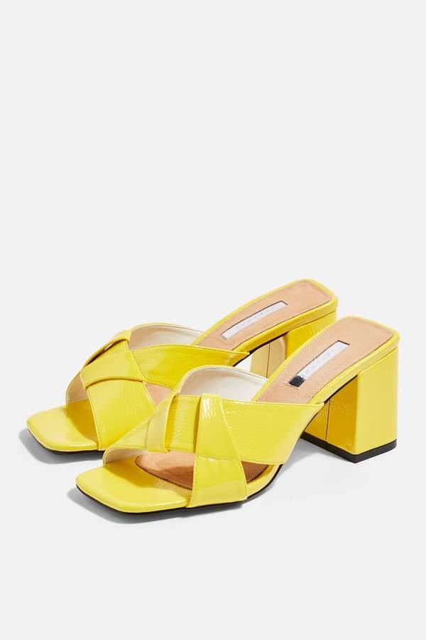 Topshop Womens Roux Neon Cross Strap Mules - Yellow