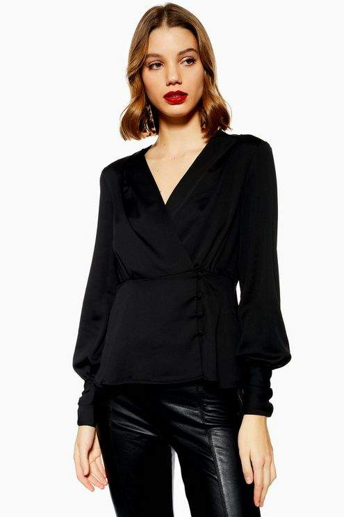 Topshop Womens Peplum Button Blouse
