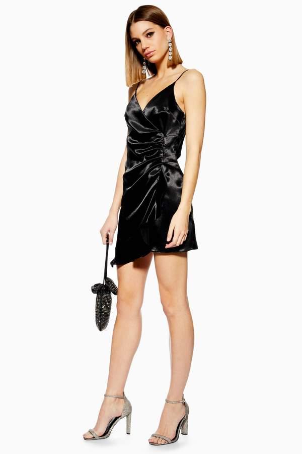 Topshop Womens Mini Ruffle Satin Slip Dress - Black