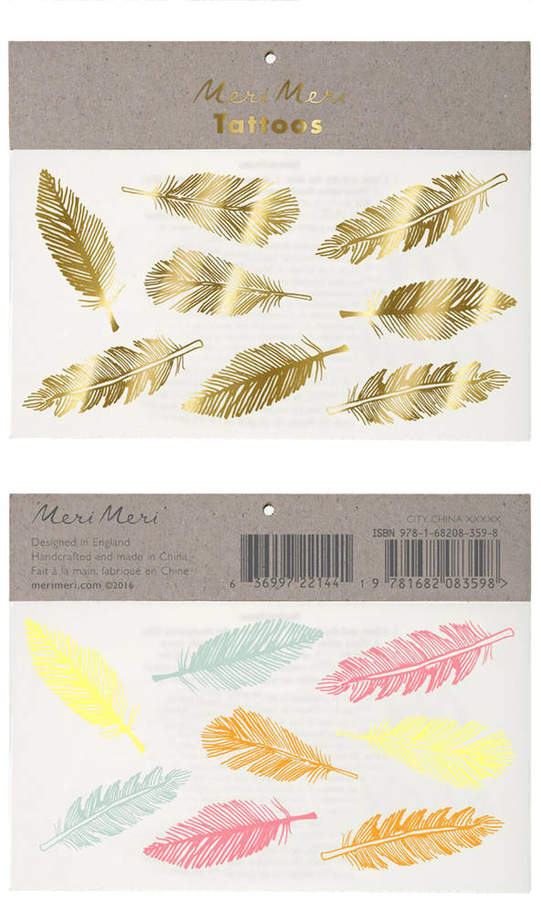 Postbox Party Feather Temporary Tattoos