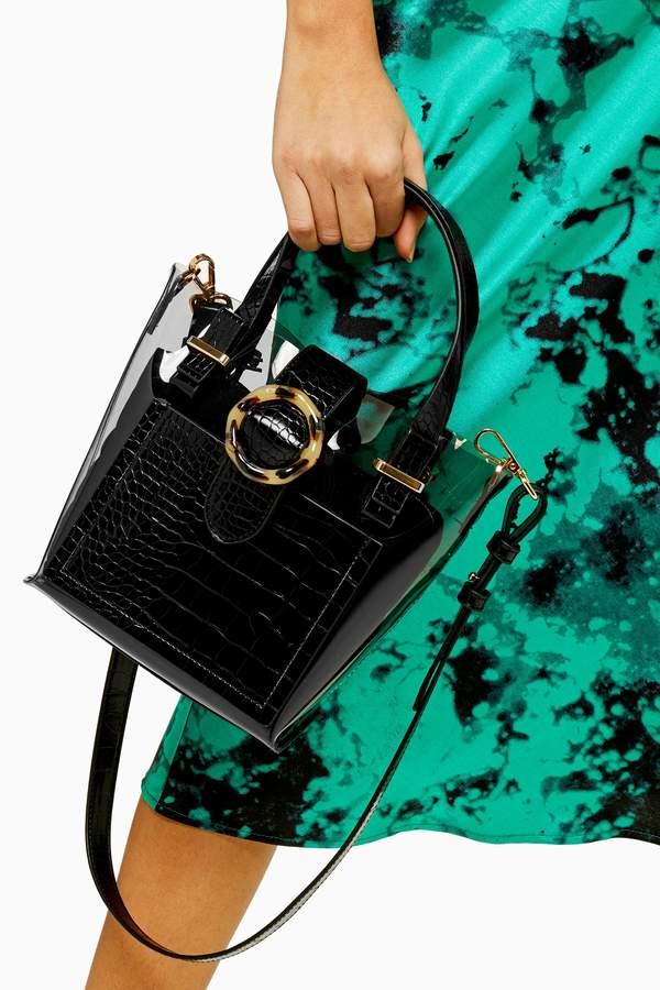 Topshop Womens Tate Tpu Mix Mini Tote Bag - Black