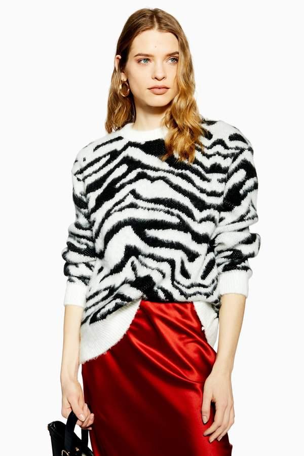 Topshop Womens Moving Zebra Print Jumper - Monochrome
