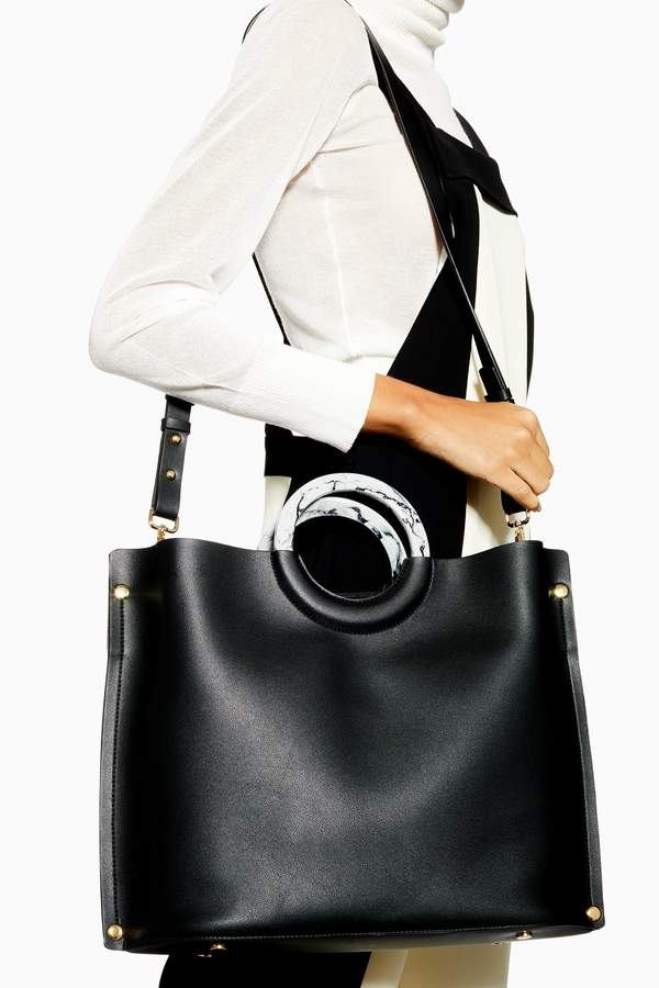 Topshop Womens Milan Marble Handle Tote Bag - Black