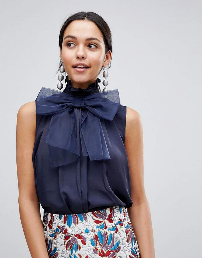 Traffic People High Neck Top With Bow