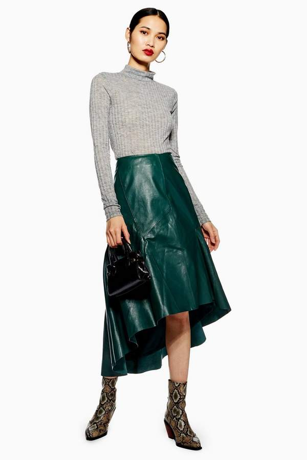 Topshop Leather Asymmetric Midi Skirt