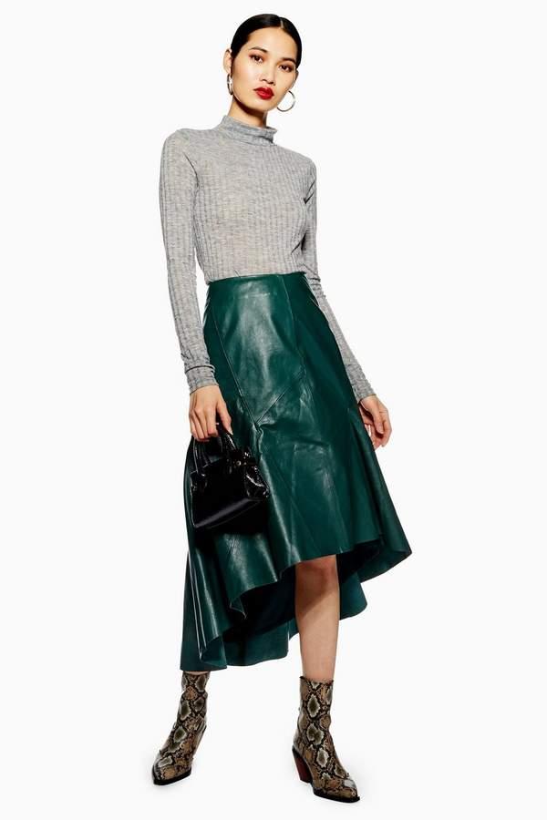 Topshop Leather Asymmetric Midi Skirt