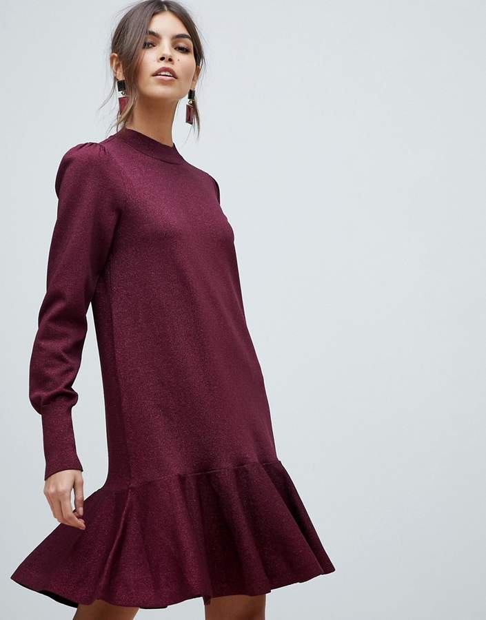 Y.A.S frill hem sparkle knitted dress