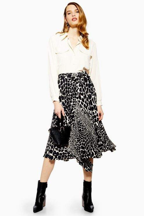 Topshop Womens Petite Giraffe Spot Pleated Midi Skirt - Monochrome
