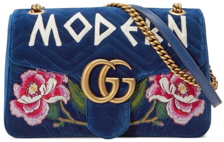 GG Marmont embroidered velvet bag