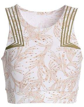 Lucas Hugh Cropped Printed Stretch-jersey Top