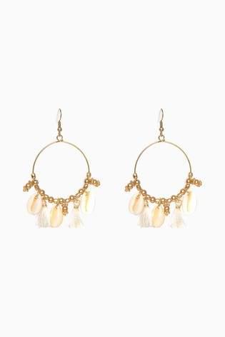 Womens Next Gold Tone Shell Bead Detail Drop Hoop Earrings