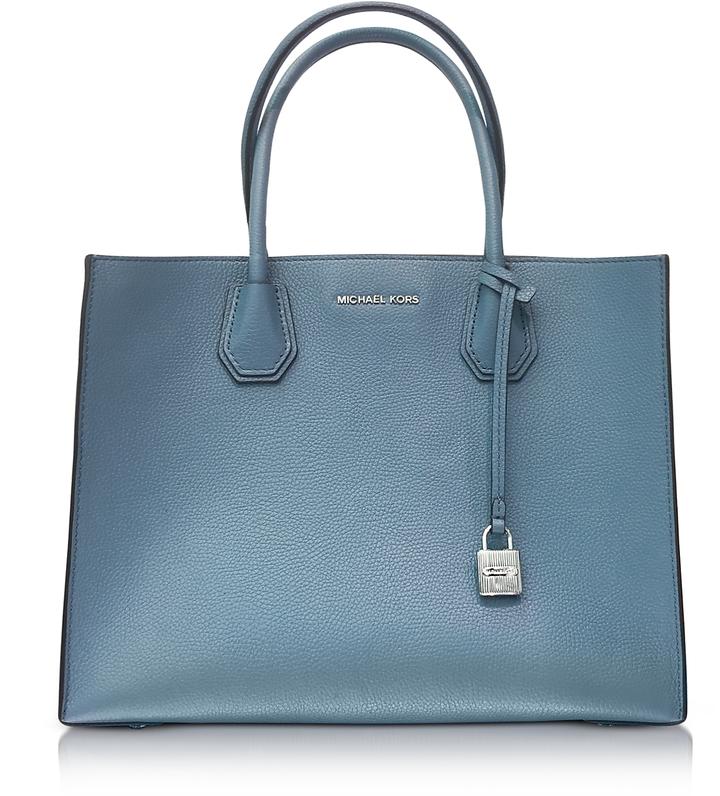 Michael Kors Mercer Large Denim Pebble Leather Convertible Tote Bag