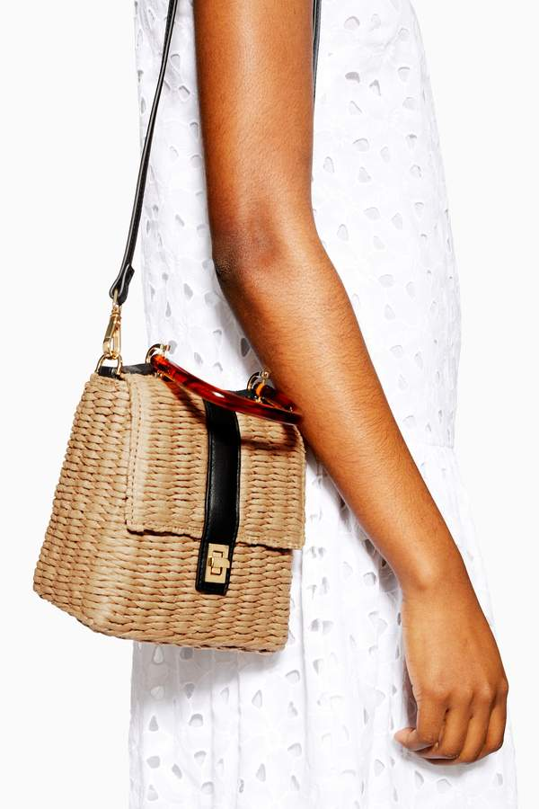 Topshop Womens Skyla Straw Grab Bag - Natural