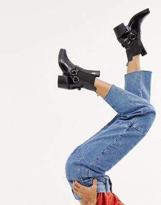 Mango real leather western ankle boot with buckle in black