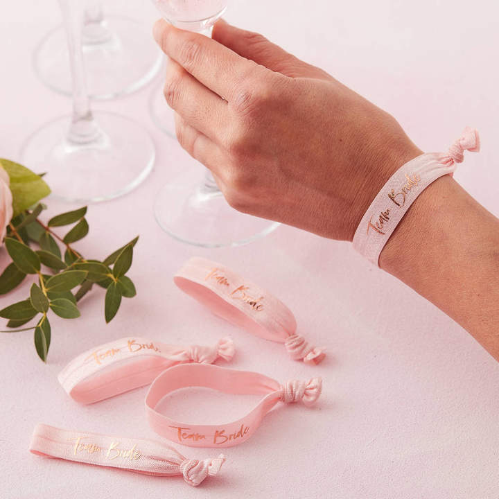 Ginger Ray Pink And Rose Gold Team Bride Hen Party Wrist Bands