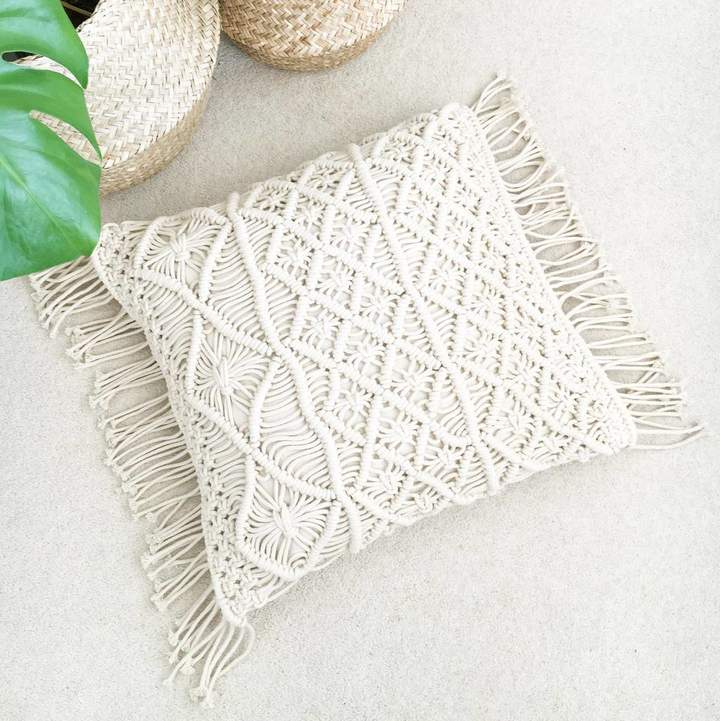 The Den & Now Boho Macrame Cushion