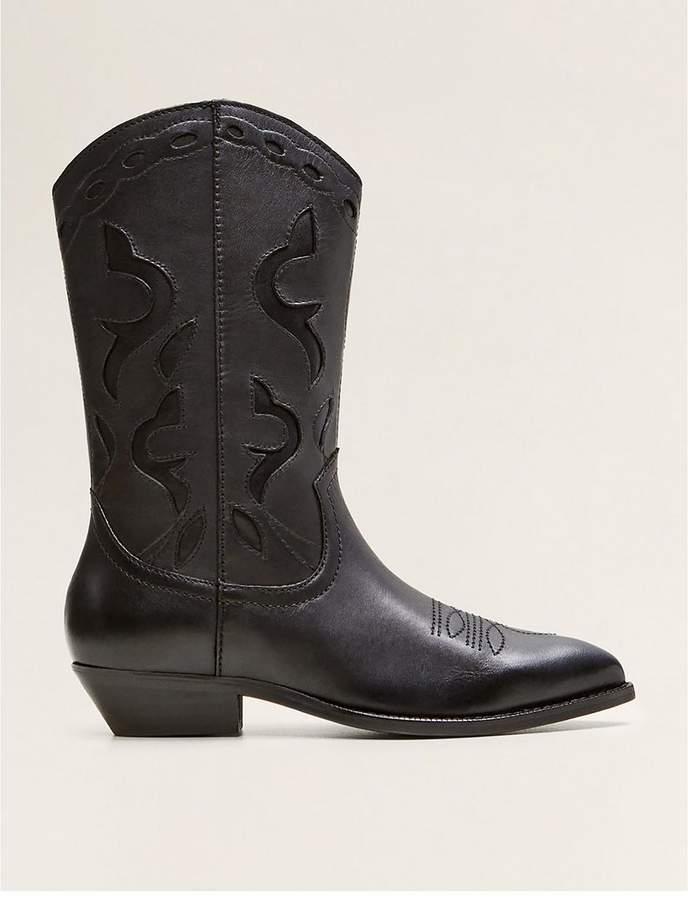 Mango Nancy Cowboy Leather Boots - Black