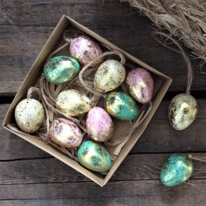 The Chicken And The Egg Gold Leaf Easter Egg Decorations