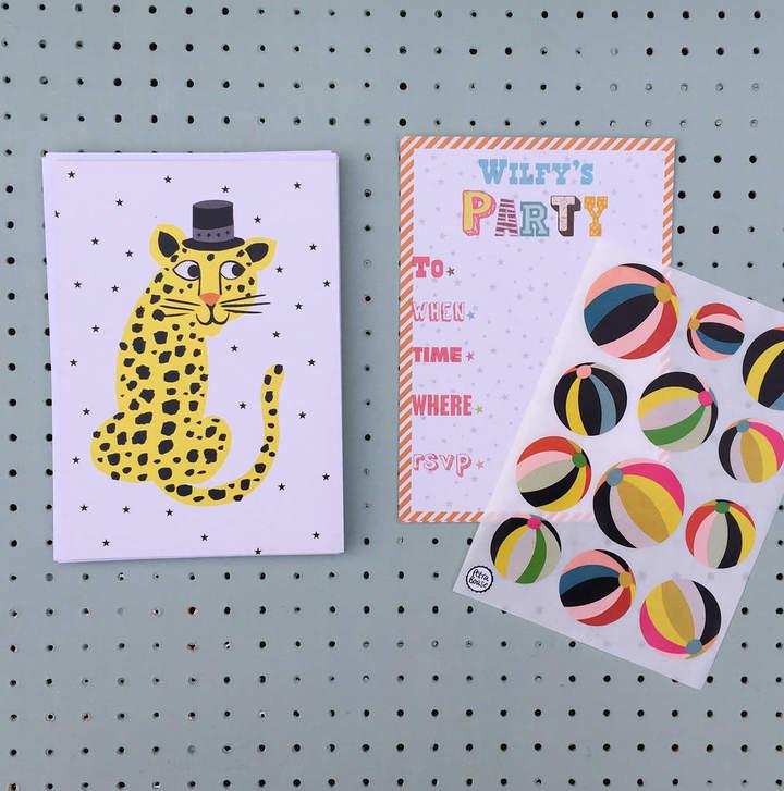 Petra boase Ltd 12 Childs Party Invitations Leopard Design