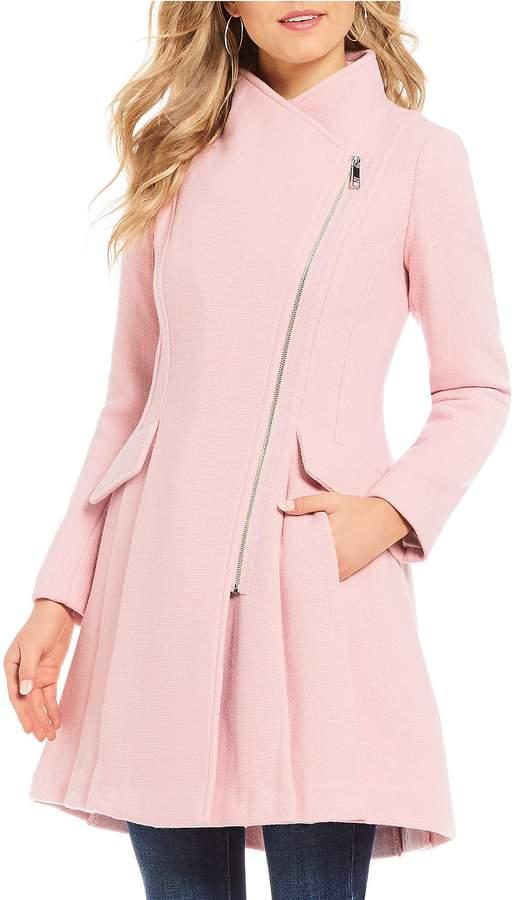 Guess Textured Asymmetric Zip Wool Blend Coat