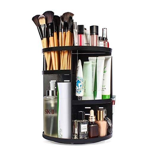 sanipoe 360 Rotating Makeup Organizer, DIY Adjustable Makeup Carousel Spinning Holder Storage Rack, Large Capacity Make up Caddy Shelf Cosmetics...