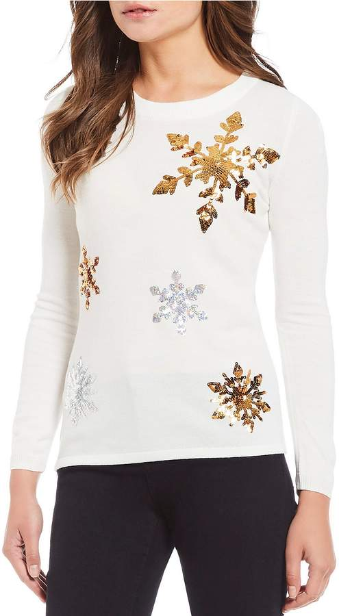 Lisa International Sequin Snowflake Christmas Sweater