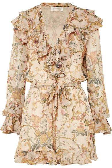 Zimmermann - Ruffled Printed Silk-georgette Playsuit - Yellow