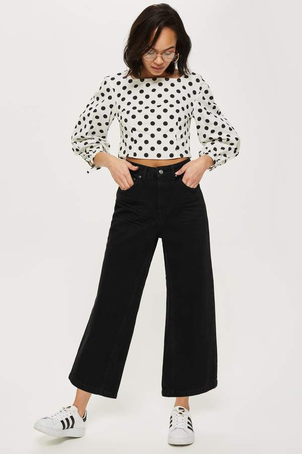 Topshop Womens Clean Black Cropped Wide Leg Jeans - Black