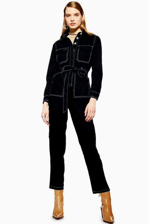 Topshop Womens Black Denim Boiler Suit - Black
