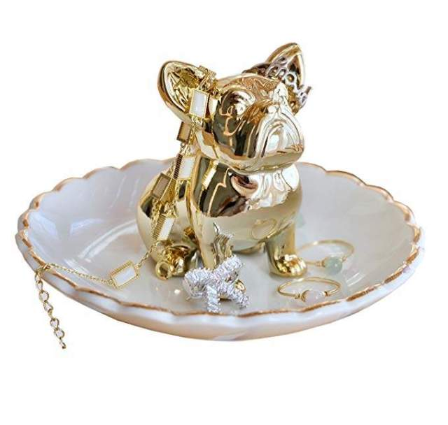 PUDDING CABIN Bulldog Ring Holder Dish Trinket Holder Gold Jewelry Tray for Wedding Engagement