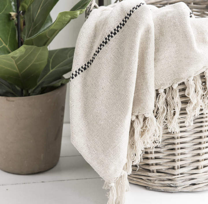 The Little House Shop Cream And Black Striped Cotton Throw