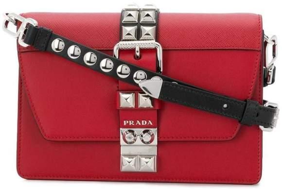 Prada Red Elektra Studded Crossbody Bag