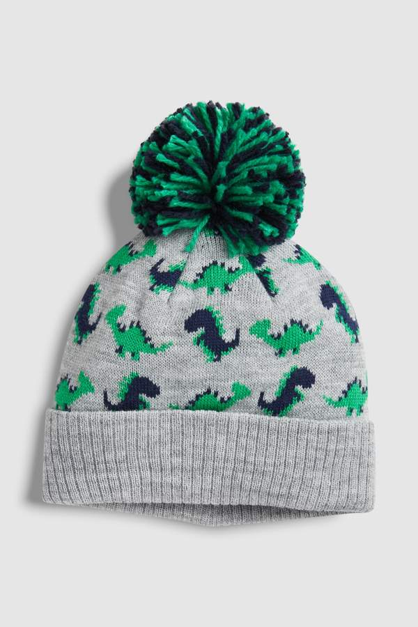 Boys Next Grey Dino Character Pom Beanie (Younger)