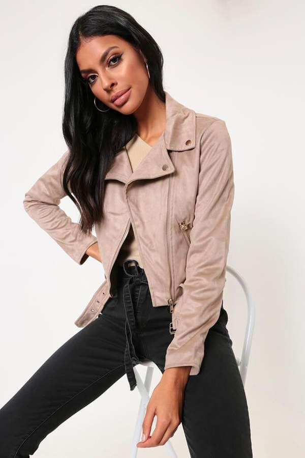Isawitfirst Stone Faux Suede Biker Jacket