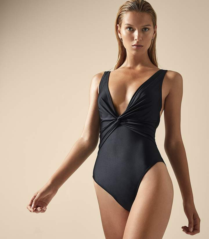Reiss COMO TWIST FRONT SWIMSUIT Black
