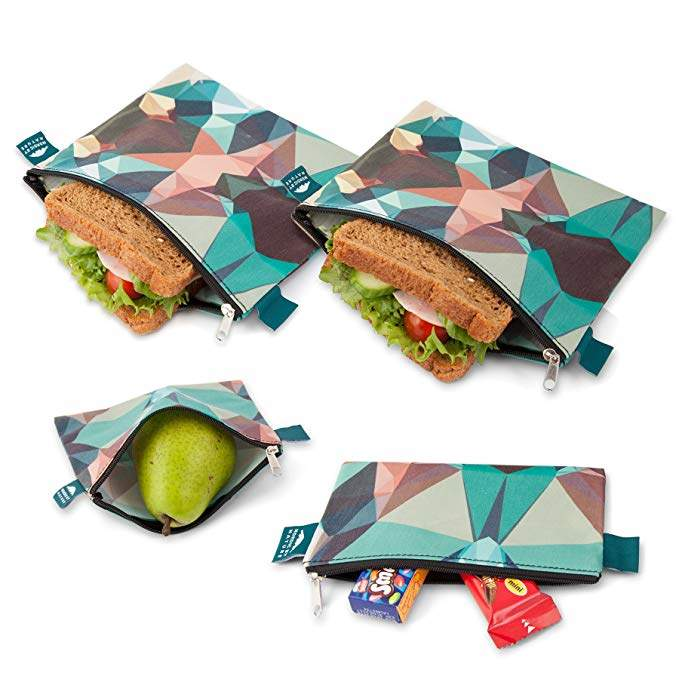 Nordic By Nature Premium Camo Sandwich & Snack bags   Designer Set of 4 Pack   Resealable, Reusable and Eco Friendly Dishwasher Safe Lunch Bags   Functional Easy Open Zipper   Great Lunch & Meal Prep