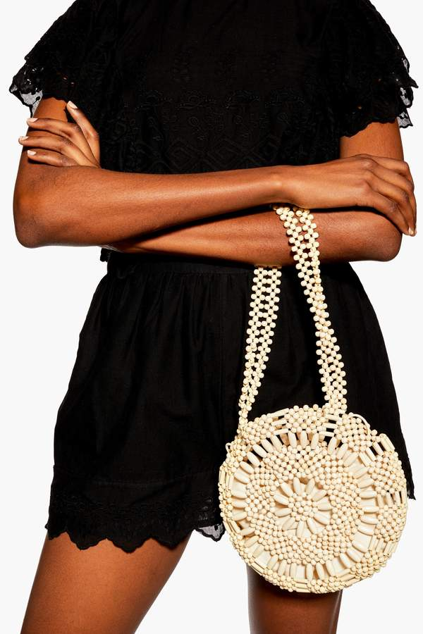 Topshop Womens Sardina Bead Tote Bag - Natural