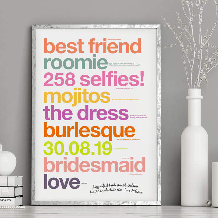 Wordplay Design Personalised Bridesmaid Thank You Gift