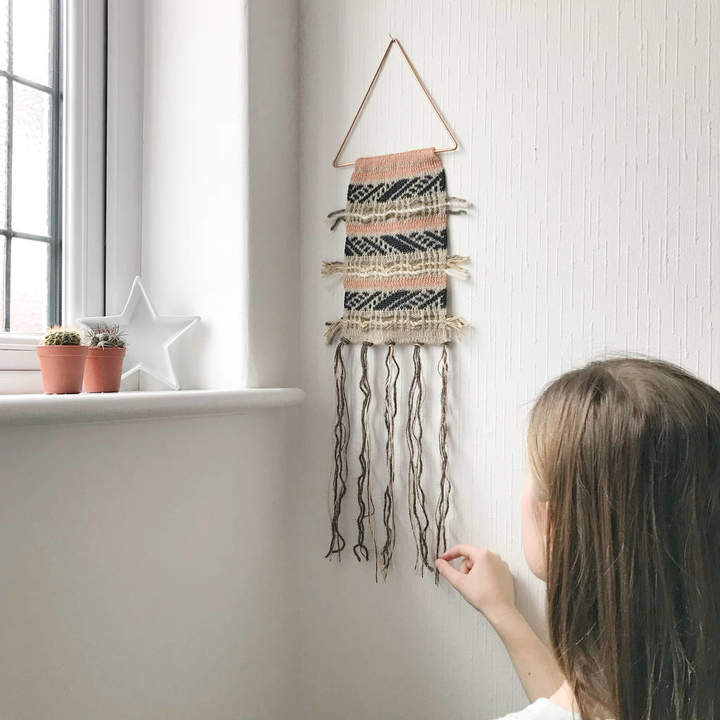 Little Knitted Stars Boho Knitted Wall Hanging On Copper Triangle