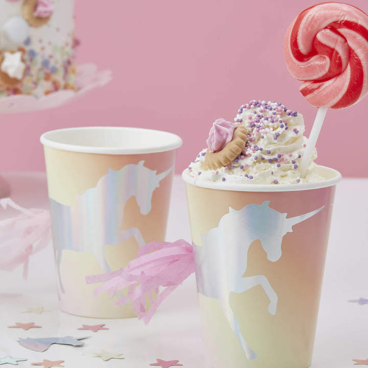 Ginger Ray Iridescent Foiled Unicorn Pastel Tassel Paper Cups