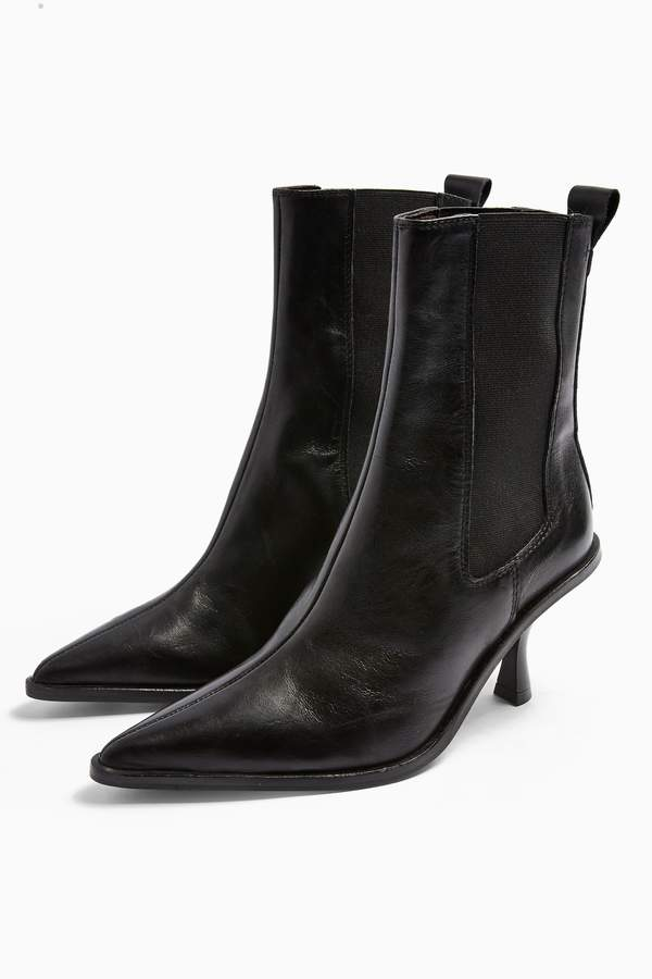 Topshop Womens Madrid Leather Chelsea Boots - Black