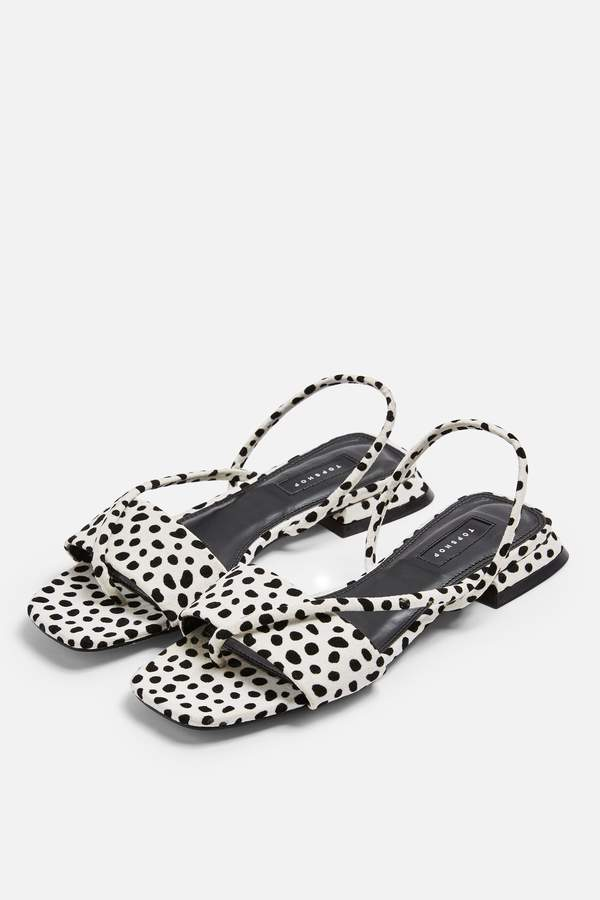 Topshop Womens Hester Black And White Sandals - Monochrome