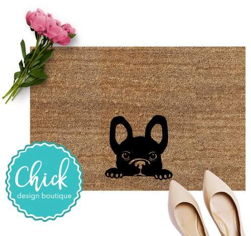 French Bulldog Peeking Door Mat | Dog Doormat | Dog Welcome | Summer Doormat | Graphic Doormat