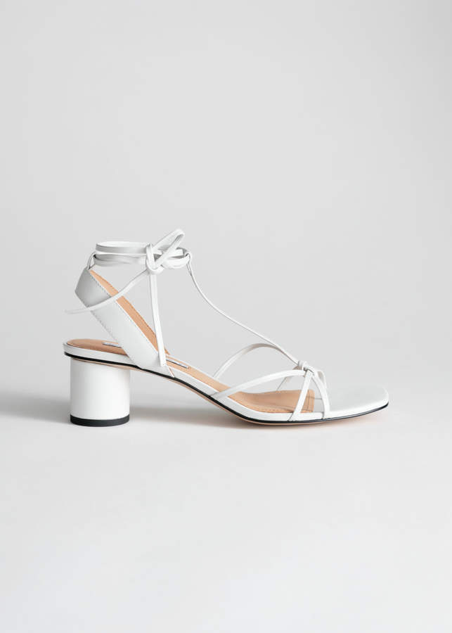 And other stories Square Toe Lace Up Heeled Sandals