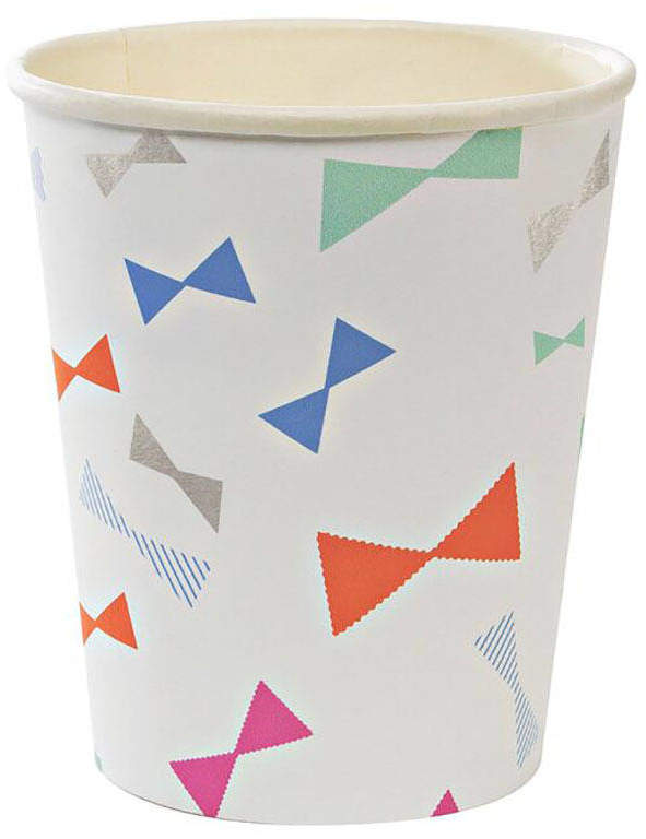 Postbox Party Colourful Bow Print Paper Party Cups