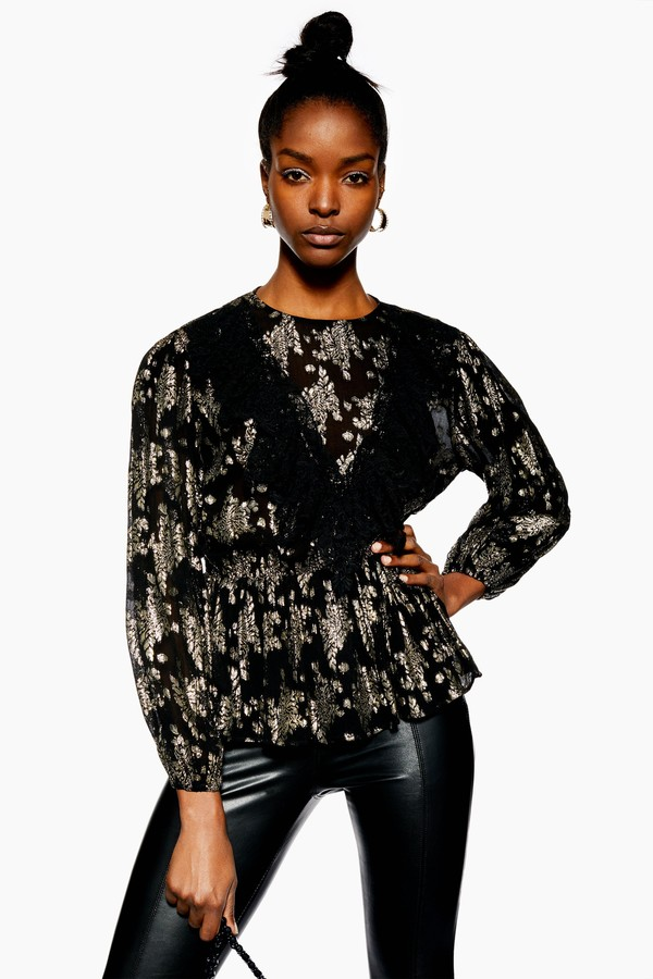Topshop Womens Metallic Jacquard Ruffle Top - Black