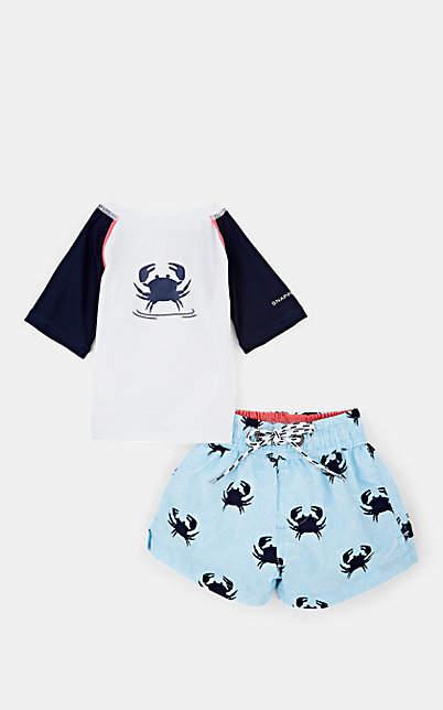 Snapper Rock Infants' Crab-Print Rashguard & Trunks - Blue