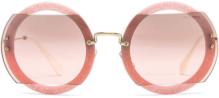 Miu Miu Glitter Square Sunglasses in Rose | FWRD