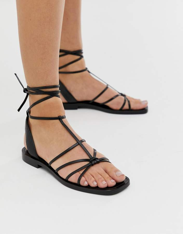 & Other Stories strappy flat sandals in black